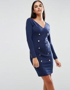 Облегающее платье на пуговицах спереди AX Paris - Темно-синий