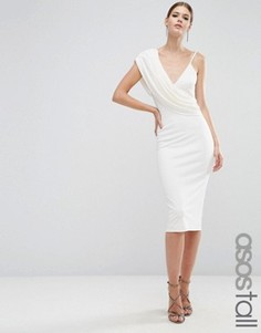 Креповое платье миди на одно плечо с драпировкой ASOS TALL - Кремовый