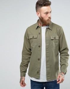 Куртка узкого кроя в стиле милитари Hoxton Shirt Company - Зеленый