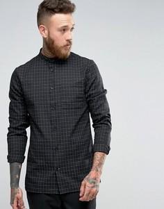 Рубашка узкого кроя в клетку Hoxton Shirt Company - Черный