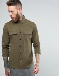 Узкая рубашка в строгом стиле из купро Hoxton Shirt Company - Зеленый