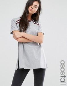 Длинная футболка с полосатыми вставками ASOS TALL - Серый