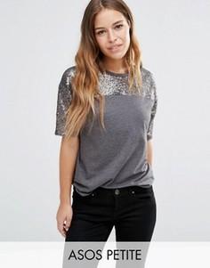 Свободная футболка с расшитой пайетками кокеткой ASOS PETITE - Серый
