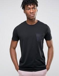 Футболка с атласным карманом Burton Menswear - Черный
