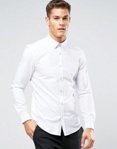 Жаккардовая рубашка узкого кроя в белый горошек Burton Menswear - Белый