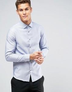 Темно-синяя рубашка узкого кроя с мелким узором гусиная лапка Burton Menswear - Темно-синий