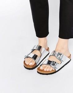 Серебристые сандалии для узкой стопы Birkenstock Arizona - Серебряный