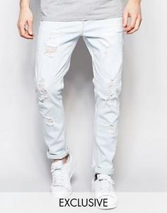 Стираные джинсы слим с потертостями Liquor & Poker - Синий