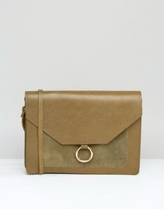Винтажная кожаная сумка через плечо с металлическим кольцом ASOS - Зеленый