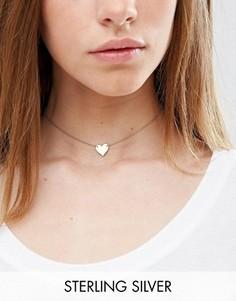 Ожерелье-чокер из позолоченного серебра с подвеской-сердечком ASOS - Золотой