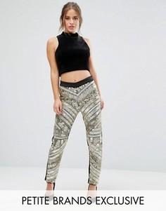 Зауженные брюки-премиум с отделкой спереди Maya Petite - Золотой