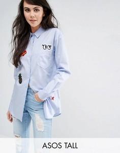 Рубашка с нашивками ASOS TALL - Синий