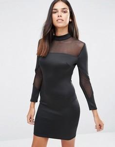 Облегающее платье миди с длинными рукавами AX Paris - Черный