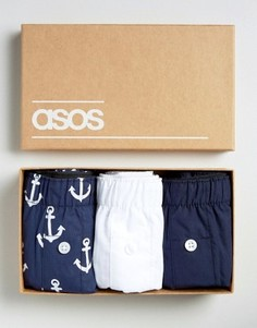 3 тканых боксеров с якорями в подарочной упаковке ASOS - СКИДКА - Синий
