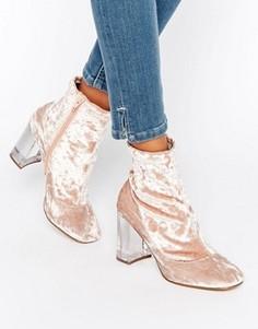 Бархатные полусапожки на прозрачном каблуке с эффектом носков ASOS EAGLE - Розовый