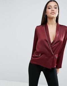 Атласная пижамная блузка с запахом спереди ASOS - Красный