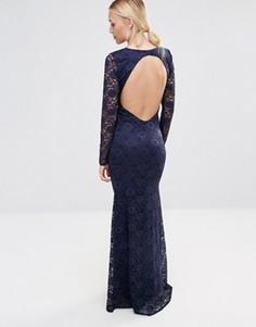 Кружевное платье макси с открытой спиной City Goddess - Темно-синий