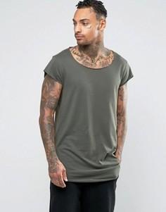 Супердлинная футболка с короткими рукавами и асимметричным краем ASOS - Зеленый
