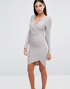Платье с длинными рукавами и запахом спереди AX Paris - Серый