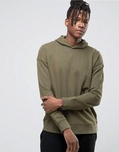 Худи с заниженной линией плеч Selected Homme - Зеленый