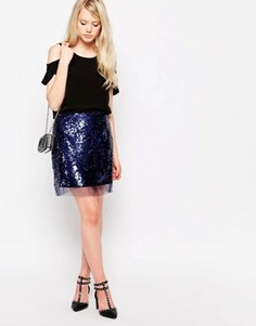 Мини-юбка с пайетками Jovonna Carcon - Синий