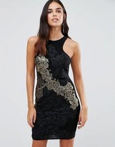 Облегающее платье с отделкой из золотистого кружева Forever Unique Daria - Черный