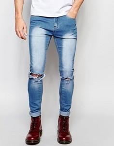 Стираные джинсы скинни с рваными коленями Liquor & Poker - Синий