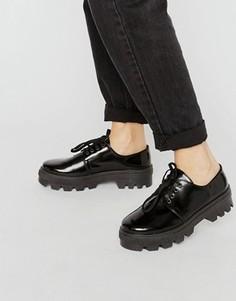 Кожаные туфли на плоской подошве со шнуровкой ASOS MELANIE - Черный