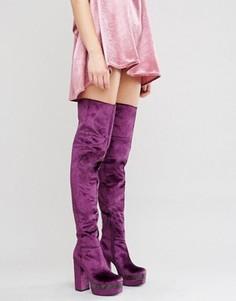 Бархатные сапоги-ботфорты на платформе ASOS KEATS - Фиолетовый