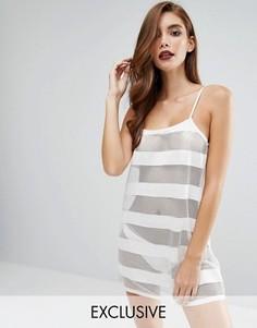 Сетчатая ночная сорочка в полоску Bluebella - Белый