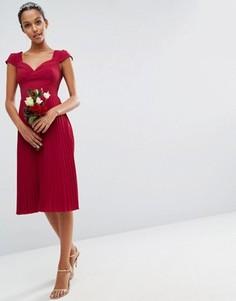Платье миди с кружевом и отделкой плиссе ASOS WEDDING - Красный