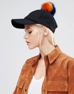 Шерстяная шапка с помпонами из искусственного меха ASOS - Черный