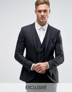 Супероблегающий пиджак с разрезами на лацканах Noak - Черный