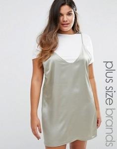 Атласное платье 2-в-1 Missguided Plus - Серебряный