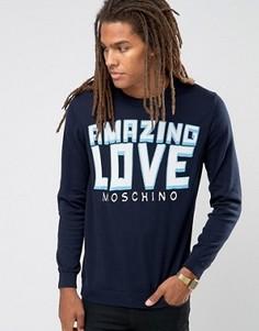 Джемпер с принтом логотипа и надписи Amazing Love Moschino - Темно-синий