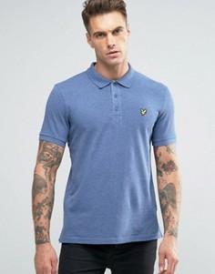 Синее меланжевое поло из пике с логотипом Lyle & Scott - Синий