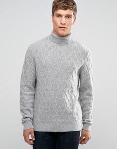 Серый джемпер из смешанной овечьей шерсти с отворачивающимся воротником и узором косичка ASOS - Серый