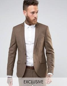 Зауженный пиджак в ломаную клетку из английской шерсти Heart and Dagger - Коричневый