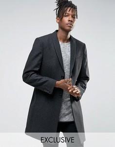 Строгое приталенное пальто с узором гусиная лапка Noak - Серый