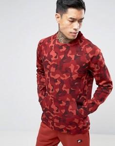 Красный флисовый свитшот с камуфляжным принтом Nike Tech 823501-674 - Красный
