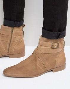 Бежевые замшевые ботинки челси с ремешками ASOS - Stone