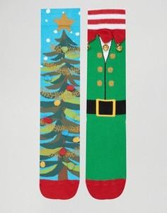 Набор из 2 пар рождественских носков с колокольчиками ASOS - Мульти