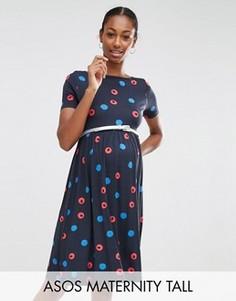 Короткое приталенное платье с поясом в размытый горошек ASOS Maternity TALL - Мульти