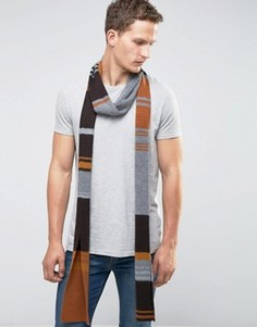 Длинный шарф в полоску ASOS - Коричневый