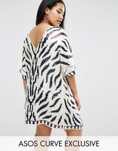 Цельнокройное платье со звериным принтом ASOS CURVE - Белый