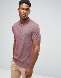 Черносливовая футболка‑поло из меланжевого трикотажа Jack Wills - Красный