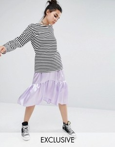Атласная ярусная юбка с баской Reclaimed Vintage - Фиолетовый
