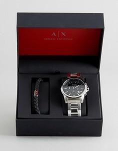 Подарочный набор с хронографом и браслетом Armani Exchange Outerbanks - Серебряный