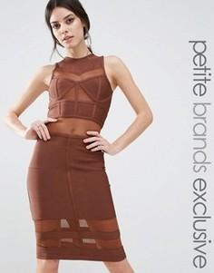 Бандажное платье миди с сетчатыми вставками True Decadence Petite - Коричневый