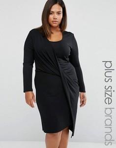 Платье с запахом и драпировкой на юбке Elvi Plus - Черный